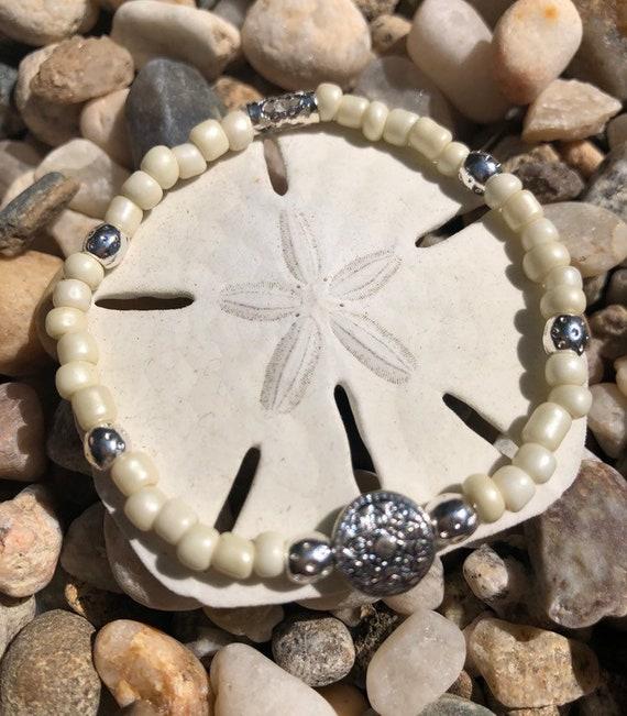 White & Silver Beaded Bracelet w/Small Silver Medallion. Womens Bracelet/Gift for her