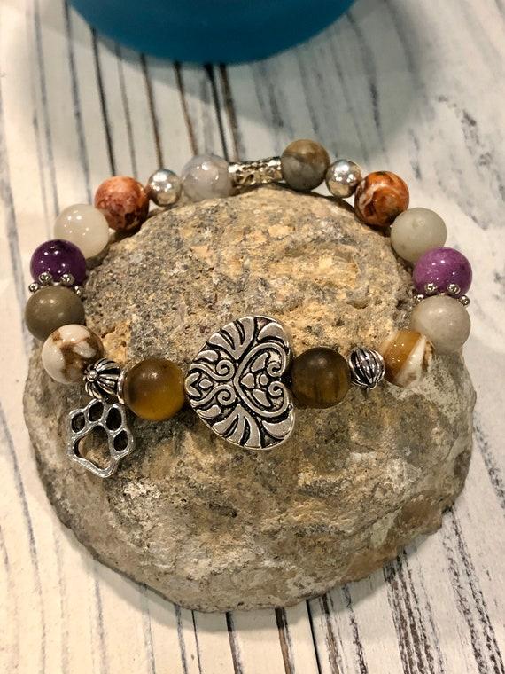 Pawprints Bracelet. Silver charm. Nature. Boho Jewelry. Animals. Dog, Cat. Pet loss. Pet memory bracelet
