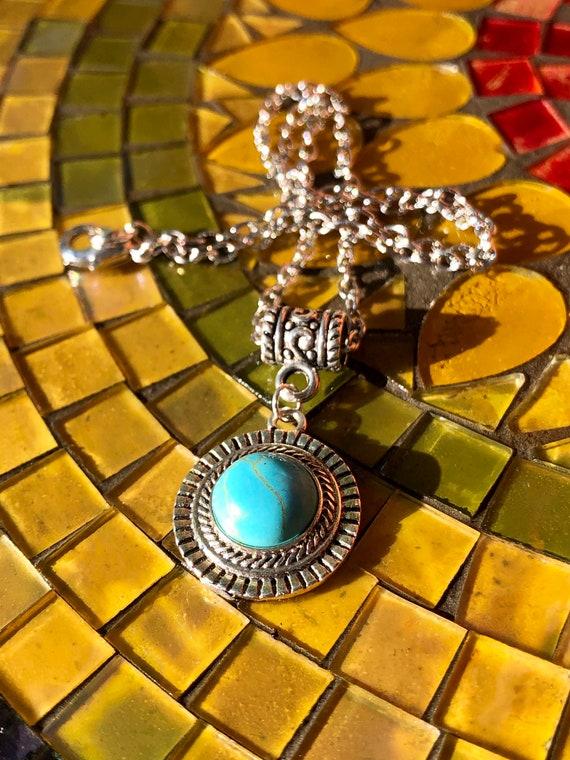 Blue Pendant Necklace. Women's Jewelry. Boho Chic. Nature Hippie.