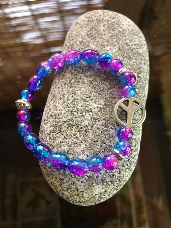 Tie-Dyed Peace Sign Bracelet. Womens Bracelet. Gift for her. Boho Bracelet. Boho Chic. Good Vibes