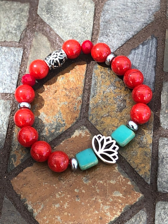 Red Lotus Flower Bracelet. Bracelet. Boho. Spiritual jewelry