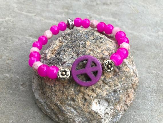 Peace Sign & Buddha Stack Women's Bracelet. Gift. Yoga. Meditation.