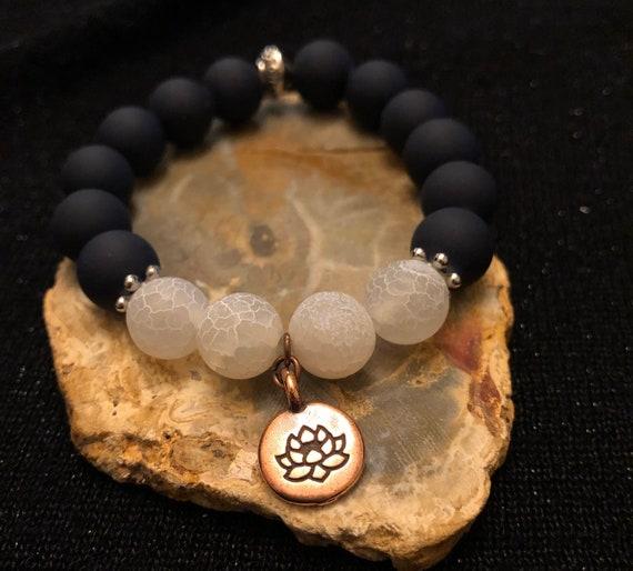 Black & White Lotus Bracelet. Women's Bracelet. Nature. Boho Jewelry. Spiritual