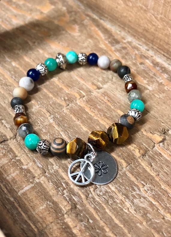 Peace & Flower Bracelet. Womens Bracelet/Gift. BOHO Bracelet. Boho Chic. Good Vibes