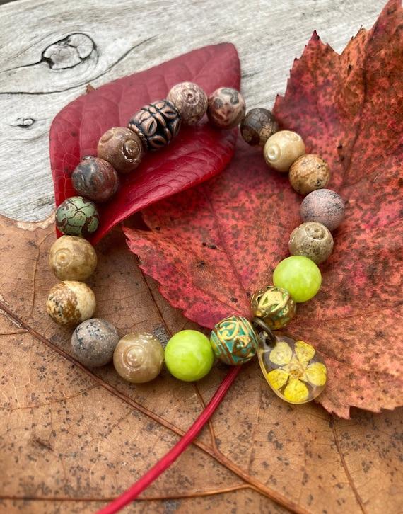 Dried Flower Resin Bracelet. Women's Bracelet. Gift For Her. Boho