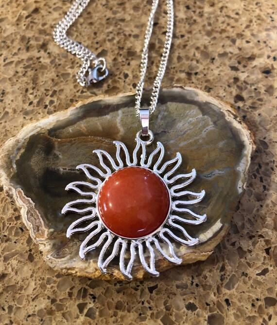Sun Medallion Necklace. Women's Jewelry. Boho Chic. Hippie.