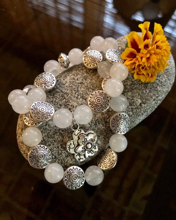 White Medallion Duo. Women's Bracelet/Gift For Her Boho Bracelets. Layering. Stack