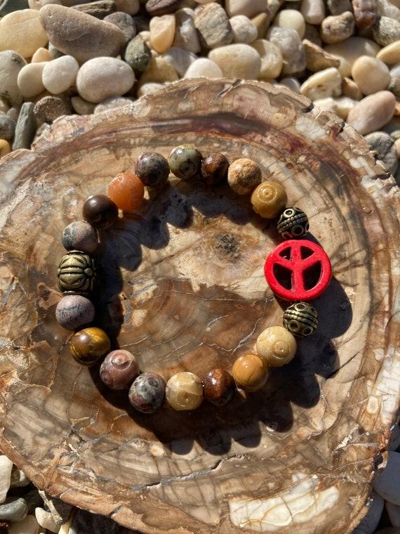 Peace Sign Bracelet. Womens Bracelet/Gift for her/BOHO Bracelet. Boho Chic. Good Vibes. Hippie. Stacking