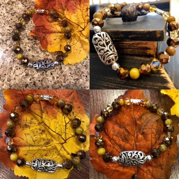Autumn Bracelet w Silver Medallion. Womens Bracelet/Gift for her
