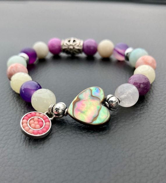 Abalone Heart Bracelet. Women's Bracelet. Gift For Her. Heart. Boho. Stretch Bracelet