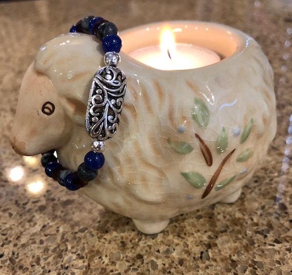 Blue & Gray Beaded Bracelet w/Silver Medallion. Womens bracelet. Gift for her