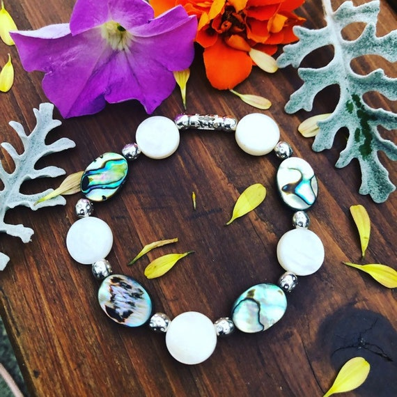 White & Abalone Beaded Bracelet. Womens Jewelry/Gift for her