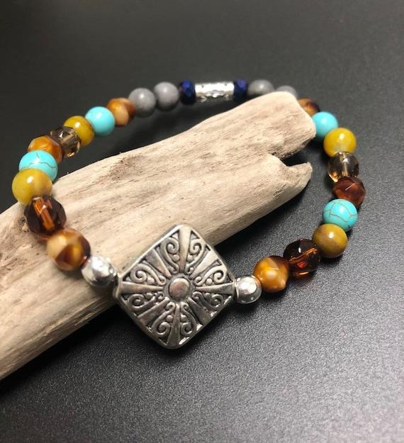 Brown, Green, Blue & Gray Medallion Bracelet. Womens Bracelet/Gift for her
