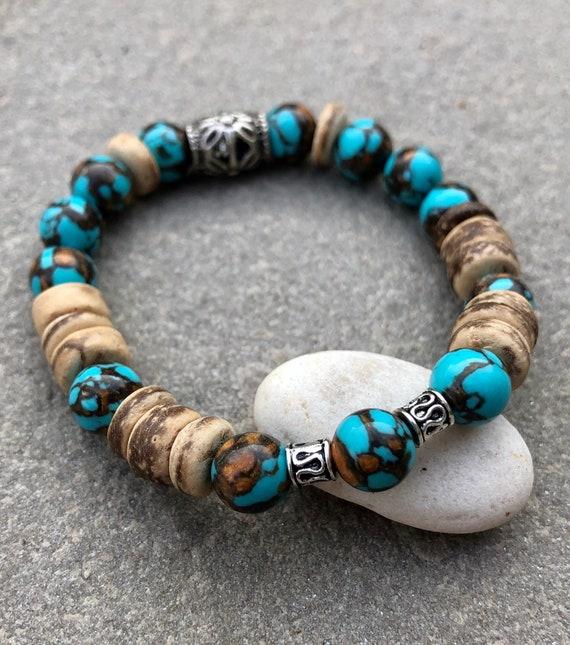 Wood & Blue Beaded Bracelet. Bracelet. Boho. Spiritual jewelry. Beachy