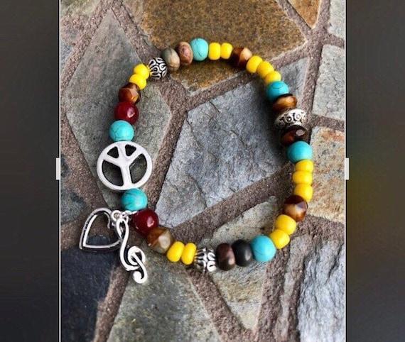 Peace, Love & Music Bracelet. Womens Bracelet/Gift for her/ Mens Bracelet. Gift for him. BOHO Bracelet. Boho Chic. Good Vibes. Music. Love