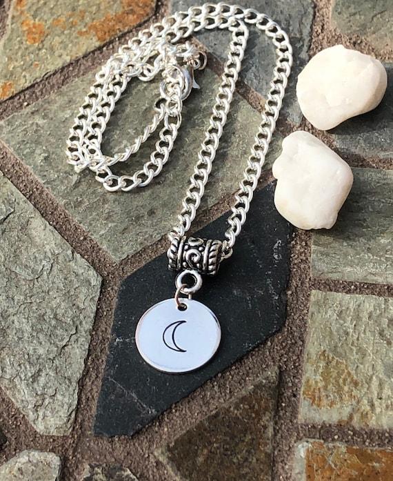Hand Stamped Moon Necklace. Women's Jewelry. Men's Jewelry. Boho Chic. Hippie. Crescent Moon. Luna