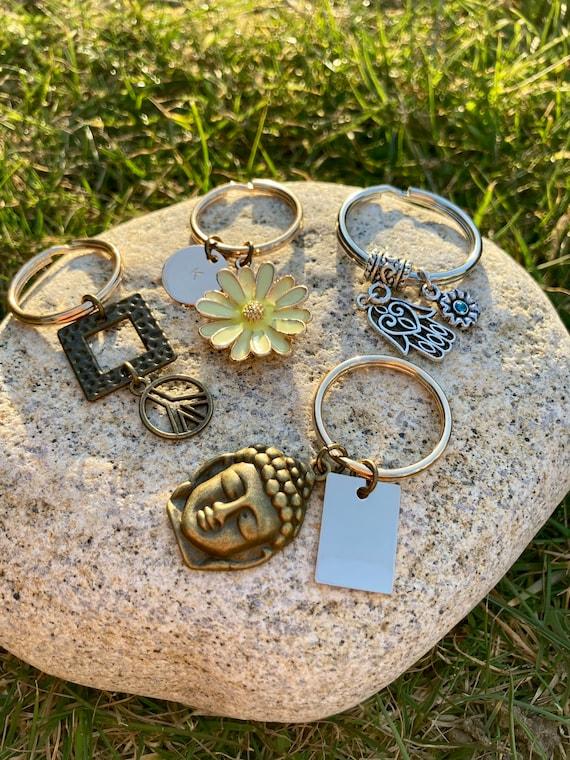 Keychains! Buddha, Daisy, Peace, Mandala, Hamsa Hand & Sun/Moon Keychains Boho. Spiritual. Yoga.