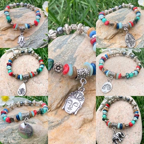 Choose your charm Bracelet. Spiritual. Women's jewelry. Boho. Bohemian Jewelry. Elephant. Buddha. Lotus Flower. Namaste. Hamsa. Om, Namaste.