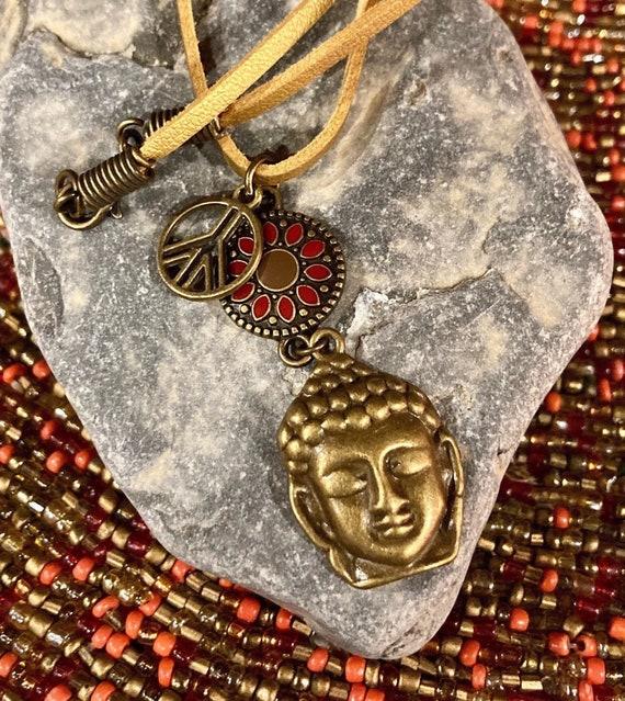 Buddha & Peace Sign Necklace. Women's Jewelry. Boho Chic. Hippie. Zen. Yoga. Spiritual