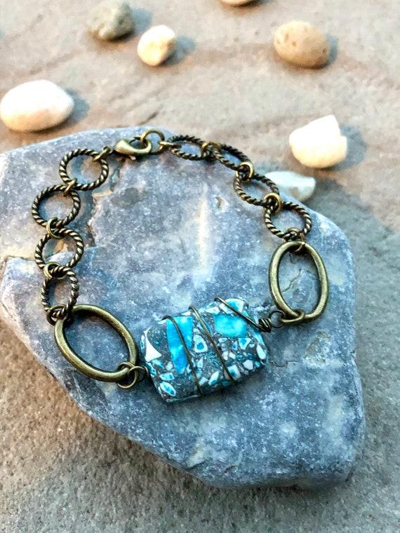 Blue Stone Bracelet. Womens Bracelet. Mens Bracelet. Gift For Her. Gift for him. Boho Bracelet