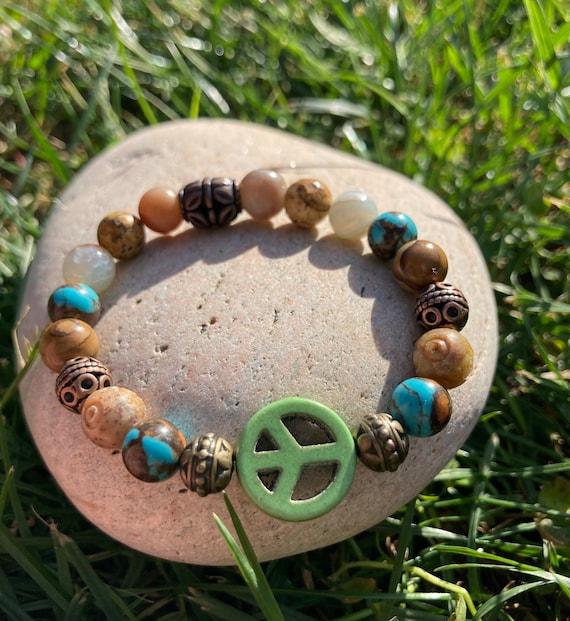 Green Peace Sign Bracelet. Women's bracelet. Men's Bracelet. Gift BOHO Bracelet. Boho Chic. Good Vibes. Hippie