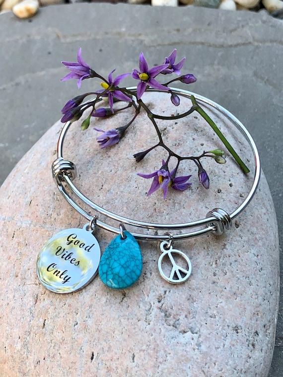 Good Vibes Bangle Bracelet. Peace Sign. Bohemian. Bohochic. Gift