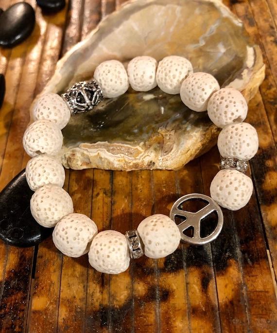 White Peace Sign Bracelet. Womens bracelet. Gift for her. Boho Bracelet. Bohemian. Hippie