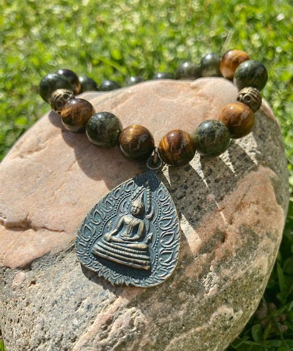 Spiritual Buddha Bracelet.  Women's Bracelet. Men's Bracelet. Gift. Jewelry. Yoga. Meditation. Tiger Eye. Patina