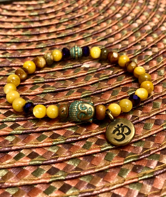 Patina Buddha & Om Bracelet. Women's Bracelet. Gift For Her. Spiritual. Boho chic. Yoga. Meditation