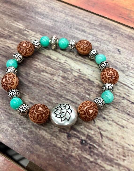 Lotus Flower Bracelet. Bracelet. Boho. Spiritual jewelry. Yoga Jewlery