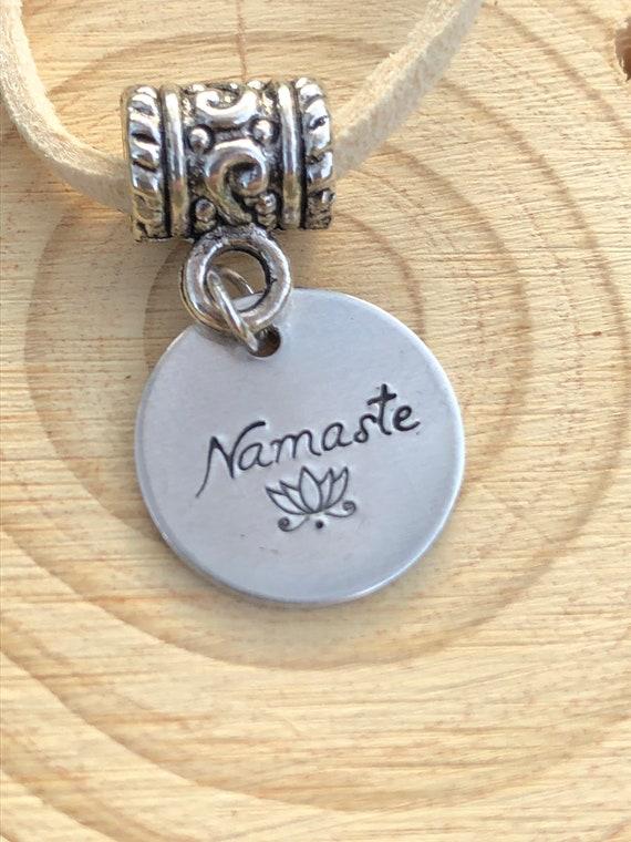 Hand Stamped Namaste Lotus Necklace. Women's Jewelry. Men's Jewelry. Boho Chic. Hippie. Zen. Meditation. Yoga