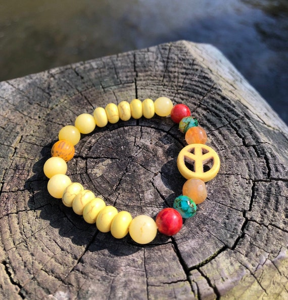 Peace Sign Bracelet. Yellow Women Men Bracelet. Gift BOHO Bracelet. Boho Chic. Good Vibes