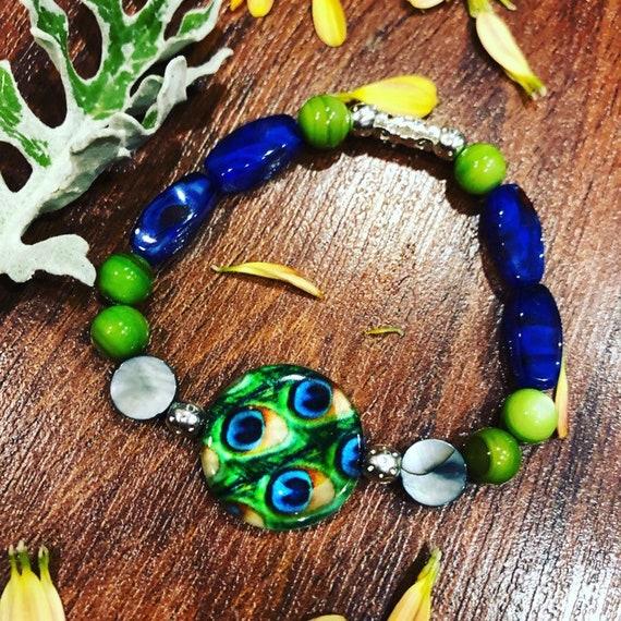 Blue & Green Peacock Feather Bracelet. Womens Bracelet/Gift for her