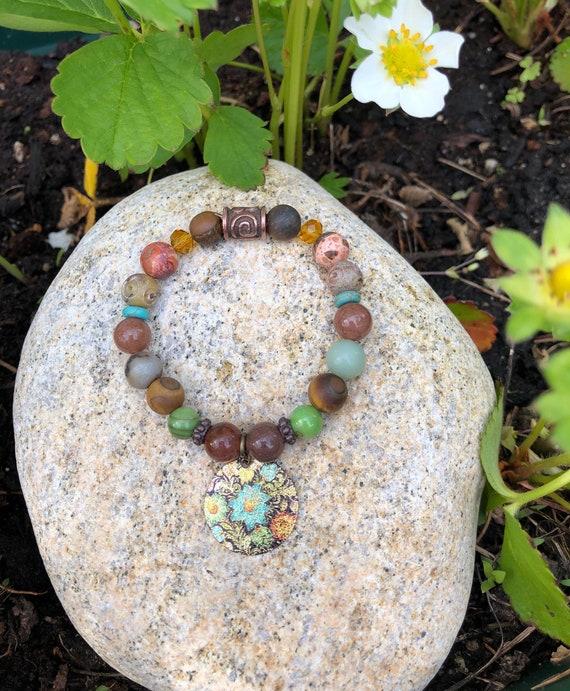 Mandala Charm Bracelet. Women's Bracelet. Yoga. Meditation. Zen. Boho Jewelry. Hippie Bohochic