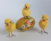 Amazing vintage antique Easter pompom chicks soft figurines. Three little hand made Soviet chicks, Made in Poland in 1950 39 s -1960 39 s. Easter