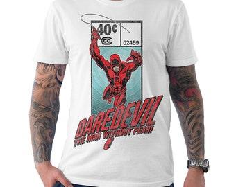 Medium White Dare Logo Marvel Comics Men/'s Dare Devil Short Sleeve T-shirt