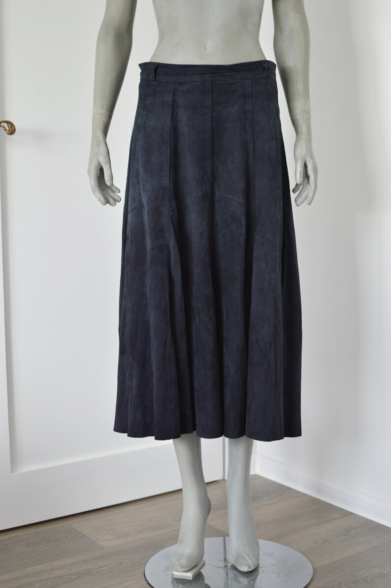 Fit and flare long leather skirt Suede navy blue skirt Size Medium  Large Vintage 90s CLASSICS real leather skirt