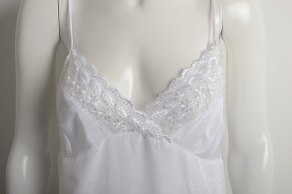 Vintage 90s white slip dress with floral guipure … - image 5