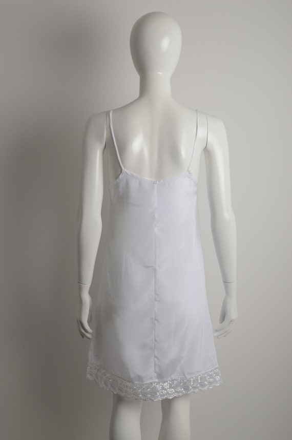 Vintage 90s white slip dress with floral guipure … - image 8