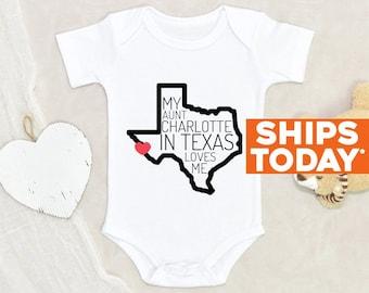 Cute Custom Baby Onesie® My Aunt In Texas Loves Me Personalized Name Baby Onesie® Unisex Onesie® Baby Shower Gift Funny Auntie Baby Onesie®
