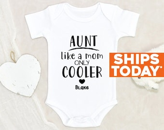 Baby Shower Gift Aunt Like A Mom Only Cooler Personalized Name Baby Onesie® Custom Baby Onesie® Unisex Baby Onesie® Auntie Baby Onesie®