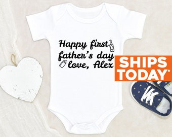 Personalized Onesie® Happy First Father's Day Gift New Dad Onesie® Custom Baby Onesie® Father's Day Baby Clothes First Father's Day Gift