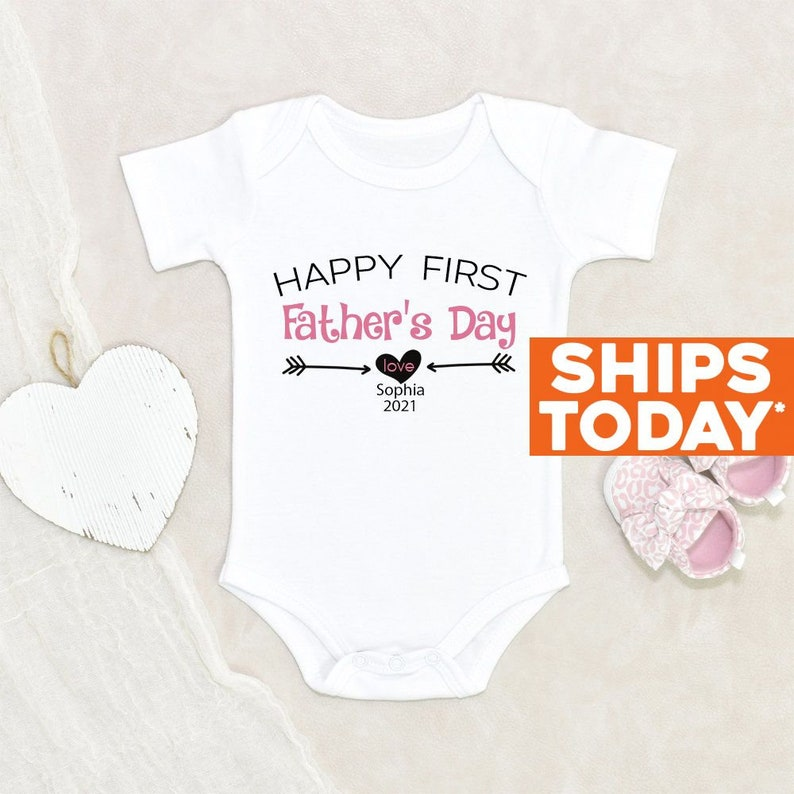 Cute Custom Fathers Day Onesie® Happy Father's Day image 0