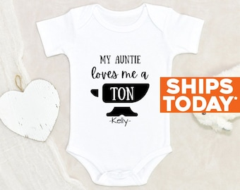 Funny Auntie Baby Onesie® My Auntie Loves Me A Ton Personalized Name Baby Onesie® Custom Baby Onesie® Baby Shower Gift Cute Baby Clothes