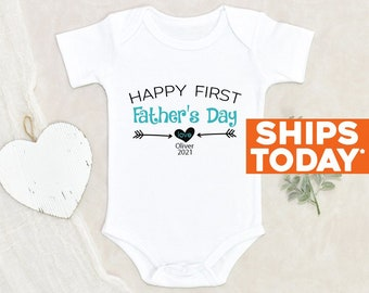 Baby Boy Onesie® Our First Father's Day Baby Clothes Personalized Baby Boy Onesie® Cute Custom Father's Day Gift Father's Day Baby Onesie®