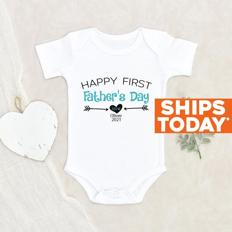 Baby Boy Onesie® Our First Fathers Day Baby Clothes image 0