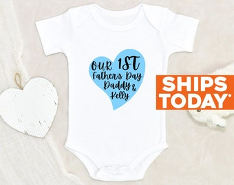 Unisex Baby Onesie® Our First Father's Day Baby Clothes Custom Father's Day Onesie®  Personalized Father's Day Onesie® Custom Baby Clothes