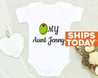 Funny Auntie Baby Onesie® Olive My Aunt Personalized Name Baby Onesie® Baby Shower Gift Unisex Baby Clothes Auntie Custom Baby Gift