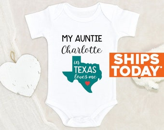 Unisex Onesie® My Aunt In Texas Loves Me Personalized Name Baby Onesie® Baby Shower Gift Funny Auntie Baby Onesie® Cute Custom Baby Onesie®