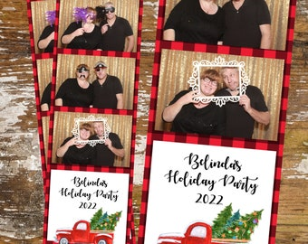 Trees Photobooth 3 Up Digital Download 050 Photo Booth Template 2x6 Strip Holiday Red Truck Merry Christmas Buffalo Check Company Party